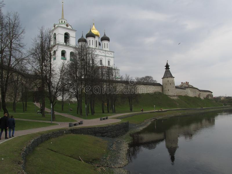 Russia, Pskov. Pskov Kremlin, embankment. royalty free stock photography
