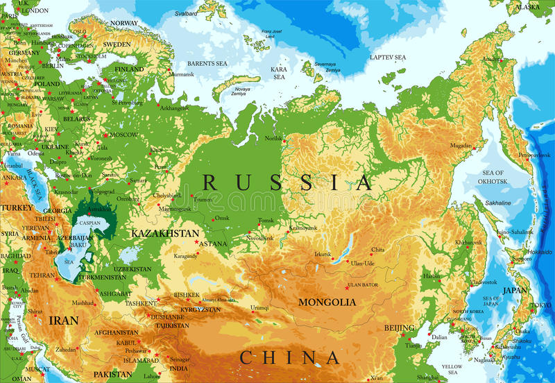 Russia relief map. Highly detailed physical map of Russia,in vector format,with all the relief forms,regions and big cities vector illustration