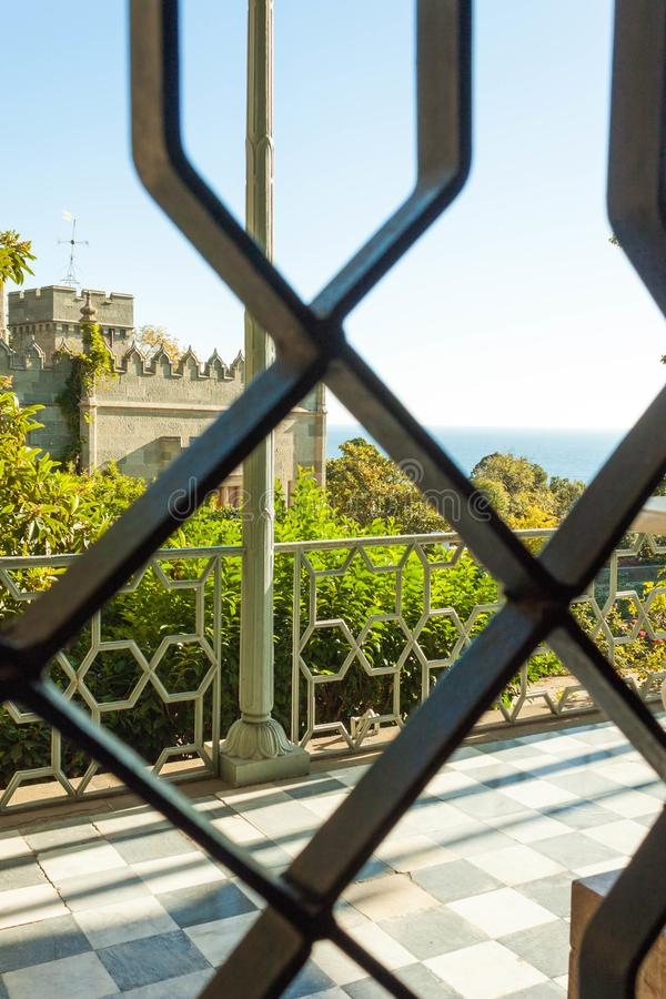 Russia, the Republic of Crimea, the city of Alupka. 03 November 2018: view of the Vorontsov Park through the lattice Vorontsov. Russia, the Republic of Crimea royalty free stock photo