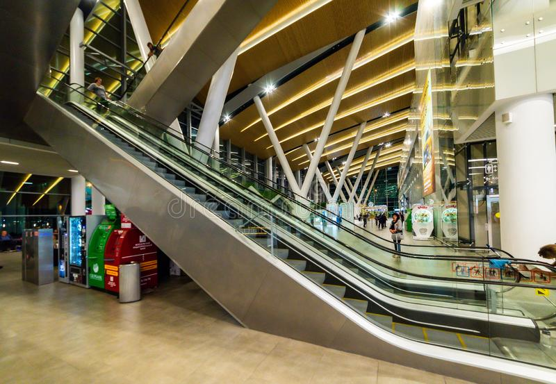 Russia, Rostov-on-Don, 17 September 2019: clean escalator closeup at the airport. beautiful modern escalator top down view stock photo
