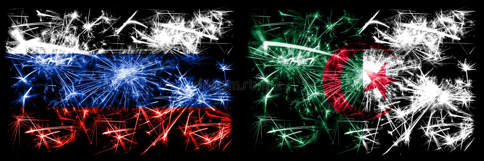 Russia, Russian vs Algeria, Algerian New Year celebration sparkling fireworks flags concept background. Combination of two states. Flags stock illustration