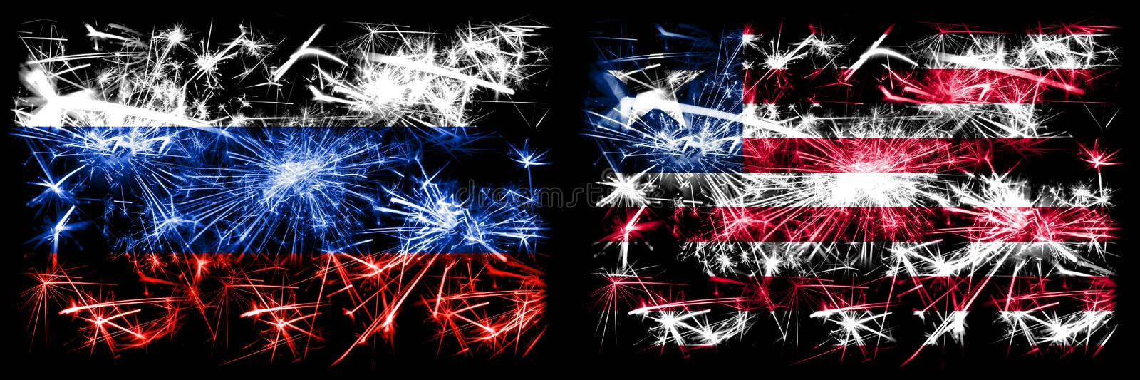 Russia, Russian vs Liberia, Liberian New Year celebration sparkling fireworks flags concept background. Combination of two states. Flags royalty free illustration