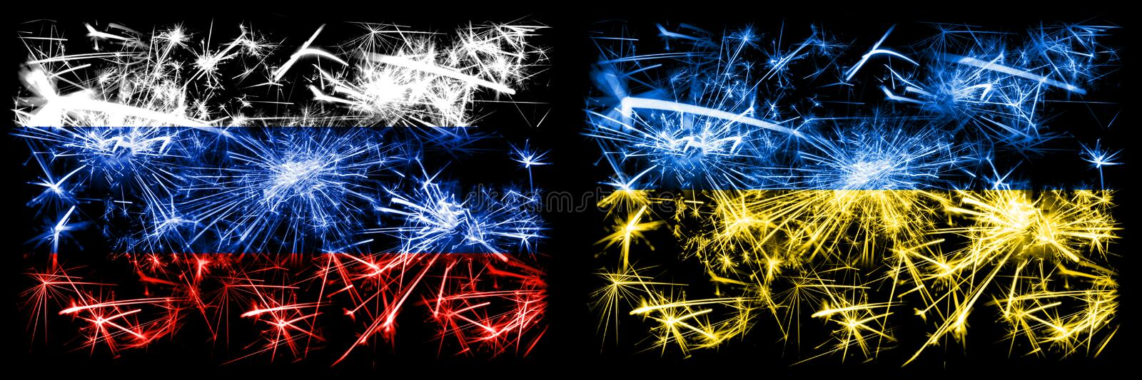 Russia, Russian vs Ukraine, Ukrainian New Year celebration sparkling fireworks flags concept background. Combination of two states vector illustration