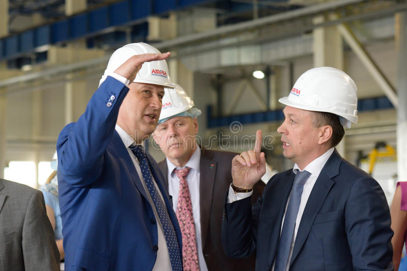 Russia's largest plant producing the lighting poles stock photo