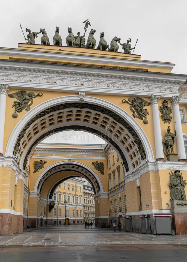 Russia, Saint Petersburg, April-19,2020: Arch of the General Staff in Saint Petersburg on Palace square. Russia, Saint Petersburg, April-19,2020: Arch of the royalty free stock photo