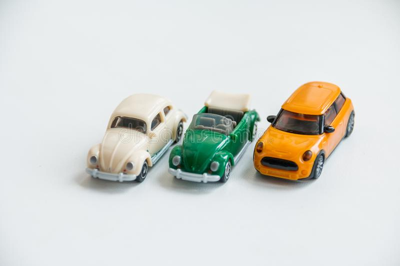 Russia, Saint-Petersburg, February 28, 2019. Hobby collection of obsolete die-cast automobile models. Miniature car toys. Miniature Photographer take a photo stock images