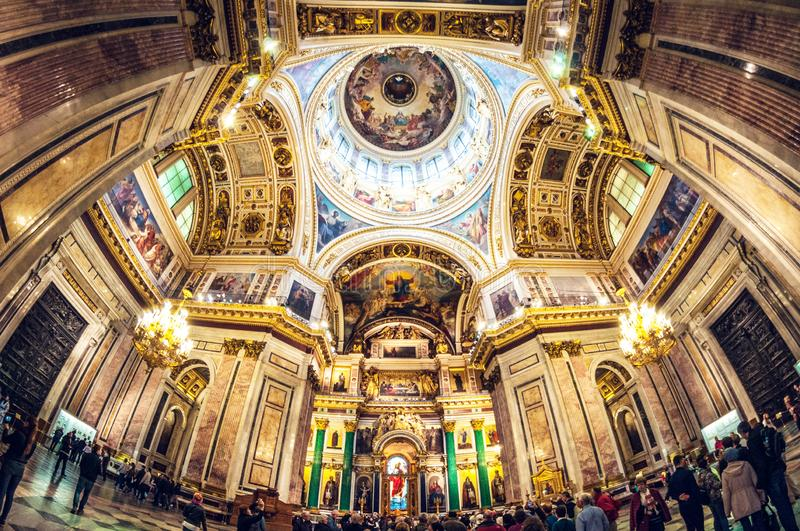 Saint Petersburg - May 19, 2016: Detail of interior of Saint Isaac`s Cathedral or Isaakievskiy Sobor. Russia, Saint Petersburg - May 19, 2016: Detail of interior stock photography