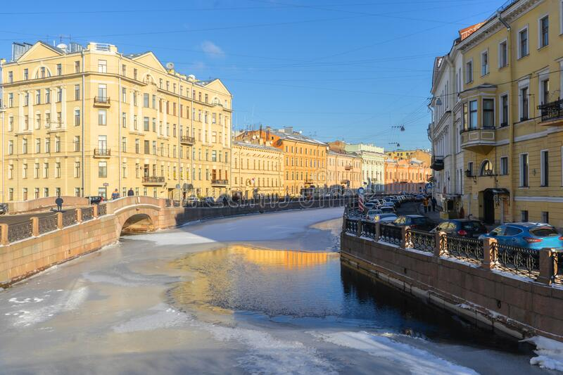 Russia. Saint Petersburg. Moika River Embankment, winter sunny day.  royalty free stock photography