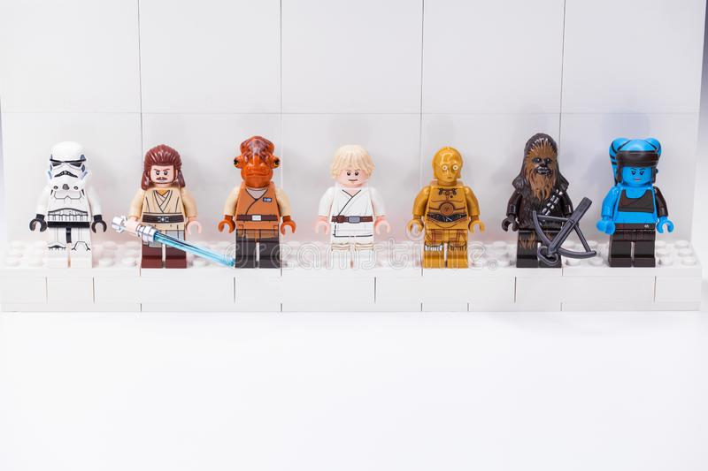 RUSSIA, SAMARA, DECEMBER 18, 2019. Constructor Lego Star Wars. Mini-figures soldiers from different episodes of the sagas. RUSSIA, SAMARA, DECEMBER 18, 2019 stock photos