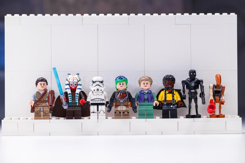 RUSSIA, SAMARA, DECEMBER 18, 2019. Constructor Lego Star Wars. Mini-figures soldiers from different episodes of the sagas. RUSSIA, SAMARA, DECEMBER 18, 2019 stock photo
