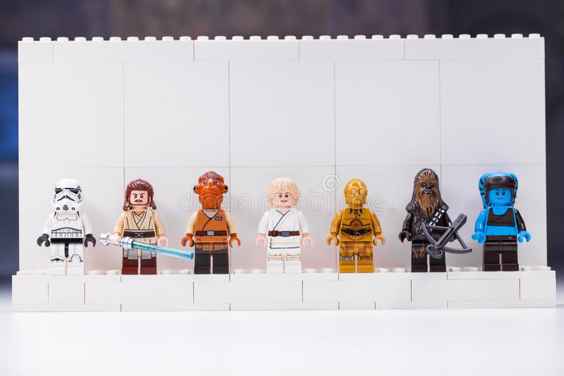 RUSSIA, SAMARA, DECEMBER 18, 2019. Constructor Lego Star Wars. Mini-figures soldiers from different episodes of the sagas. RUSSIA, SAMARA, DECEMBER 18, 2019 royalty free stock photography