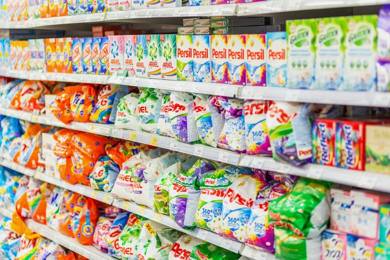 Samara, January 2019: a large selection of detergents on the supermarket shelves royalty free stock photo