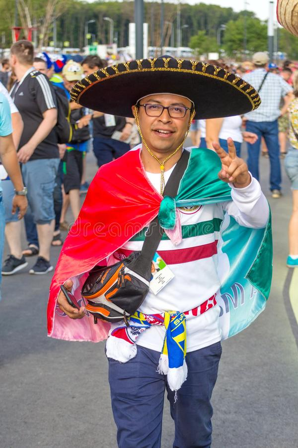 Samara, July 2018: Fans of the Mexican national football team are sick during the FIFA 2018 World Cup stock photos