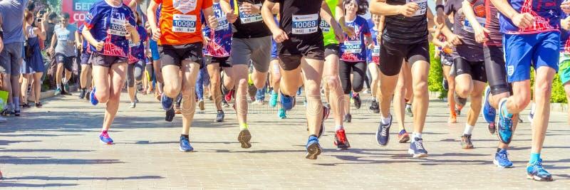 Samara, July 2018: participants of the mass run run along the embankment of the Volga River stock image