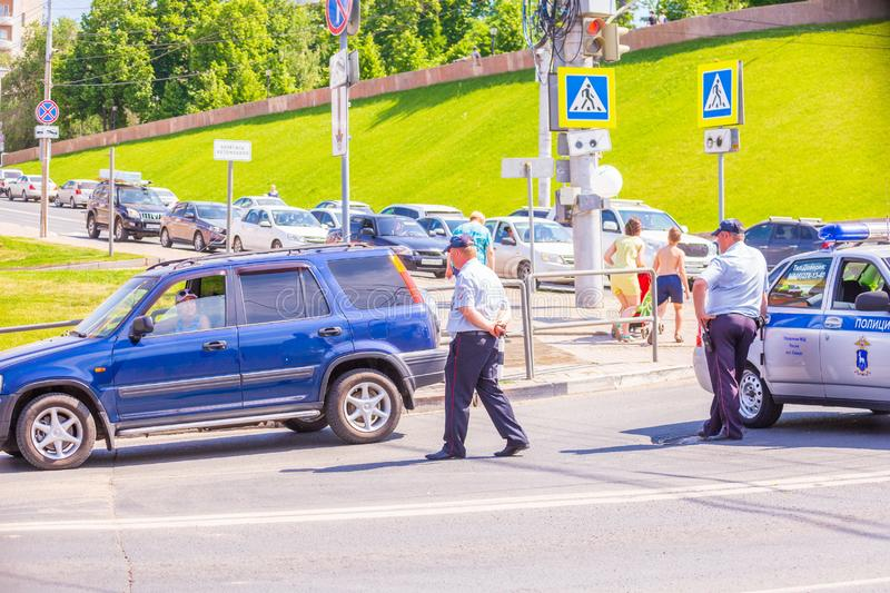 traffic police blocked the road during the city holiday. royalty free stock photos