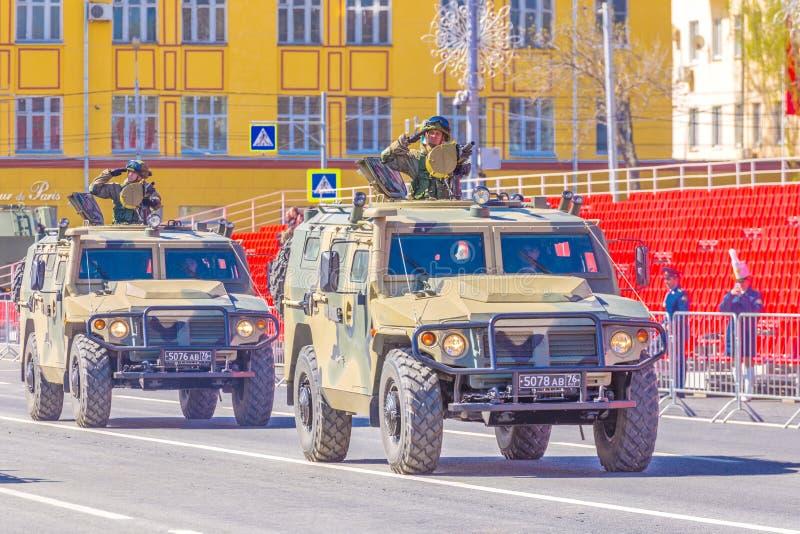 Samara, May 2018: Army special armored vehicle `Tiger` in the city. Russia, Samara, May 2018: Army special armored vehicle `Tiger` in the city stock image
