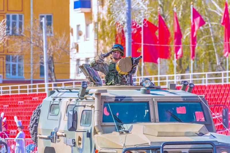 Samara, May 2018: Army special armored vehicle `Tiger` in the city. Russia, Samara, May 2018: Army special armored vehicle `Tiger` in the city stock photos