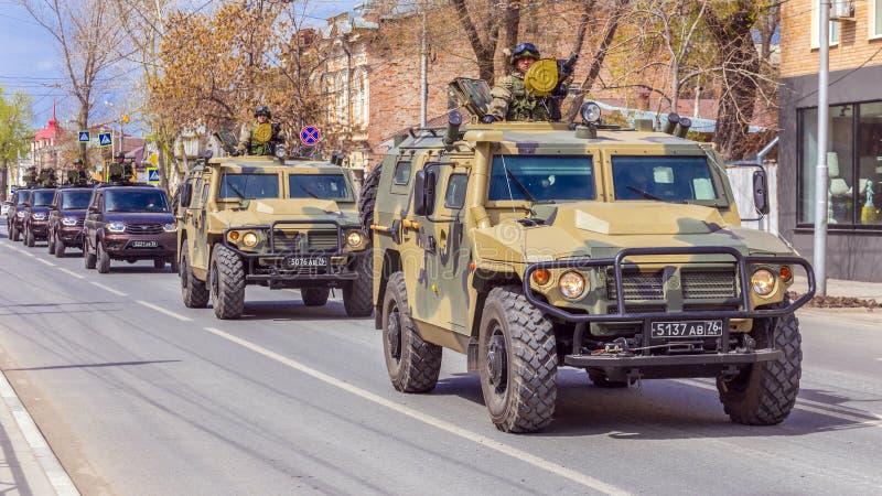 Samara, May 2018: Army special armored vehicle `Tiger` in the city. Russia, Samara, May 2018: Army special armored vehicle `Tiger` in the city royalty free stock photos