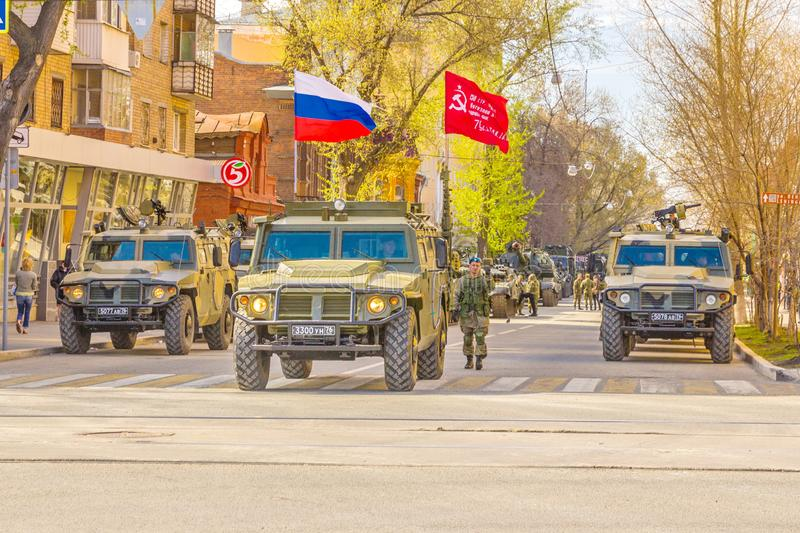 Samara, May 2018: a column of army special armored vehicles `Tiger` in the city. Russia, Samara, May 2018: a column of army special armored vehicles `Tiger` in royalty free stock photography