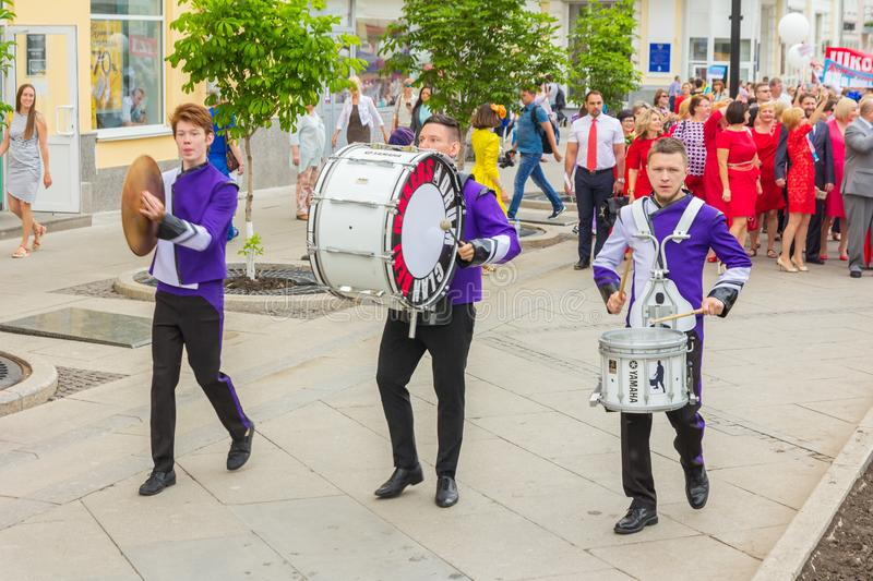 A group of drummers at a festive parade of high school graduates. Russia, Samara, May 2018. A group of drummers at a festive parade of high school graduates royalty free stock photography