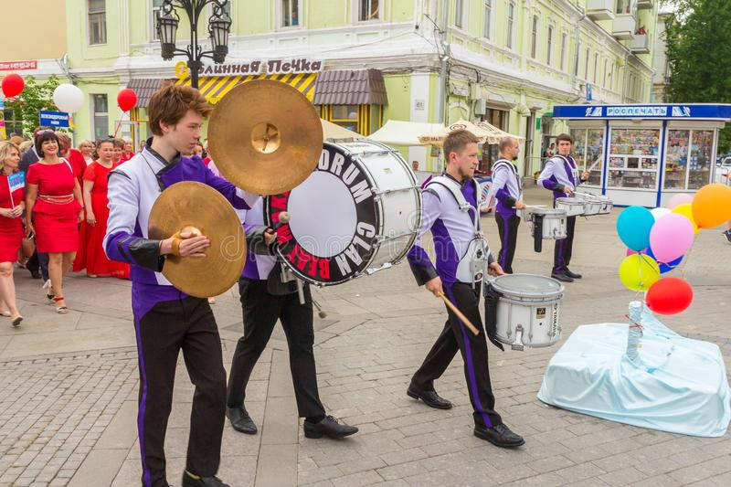 A group of drummers at a festive parade of high school graduates. Russia, Samara, May 2018. A group of drummers at a festive parade of high school graduates stock images