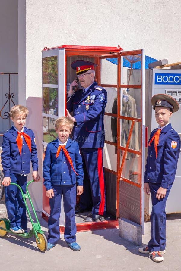 Reconstruction of Soviet time during the press day festival in Strukovsky Park. Samara royalty free stock photography