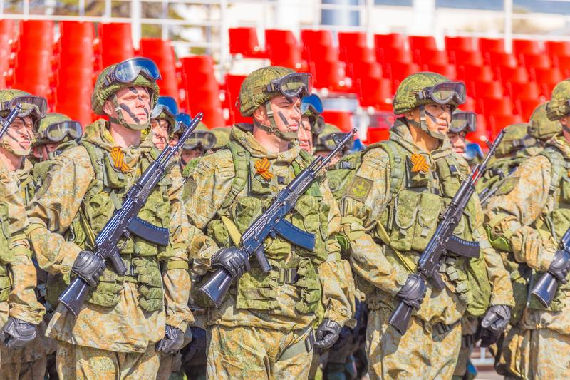 Samara May 2018: Soldiers with automatic weapons. Spring sunny day. royalty free stock image