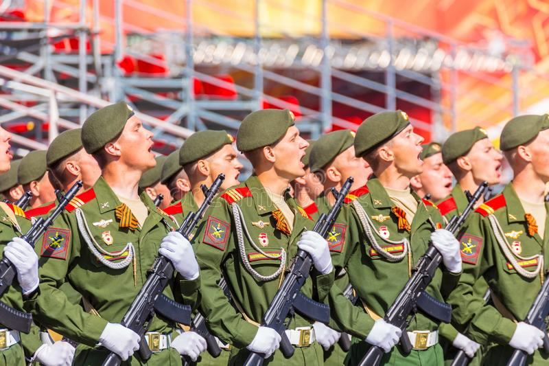 Samara May 2018: Soldiers with automatic weapons. Spring sunny day. royalty free stock photo