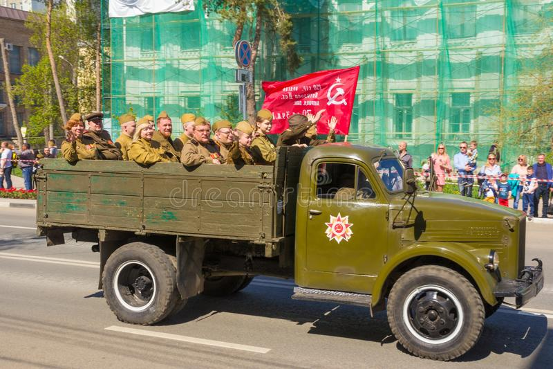 Samara, May 9, 2018. Soviet military army truck GAZ-51. Victory parade stock image