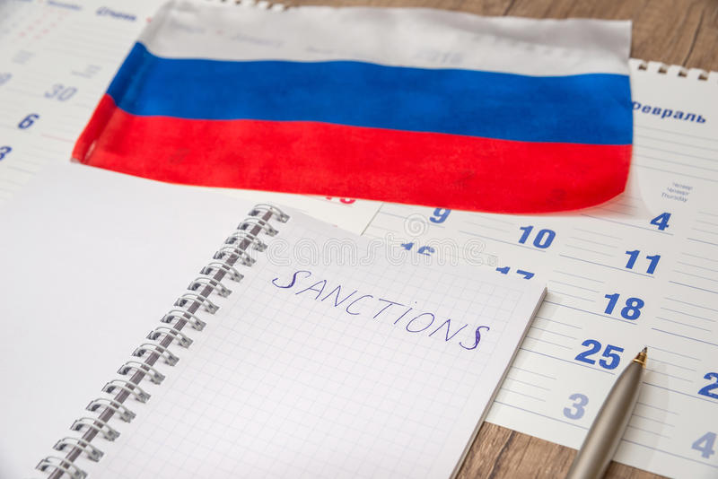 Russia sanctions. Calendar and pen royalty free stock images
