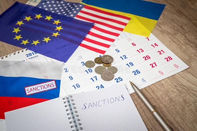 Russia sanctions close up royalty free stock image