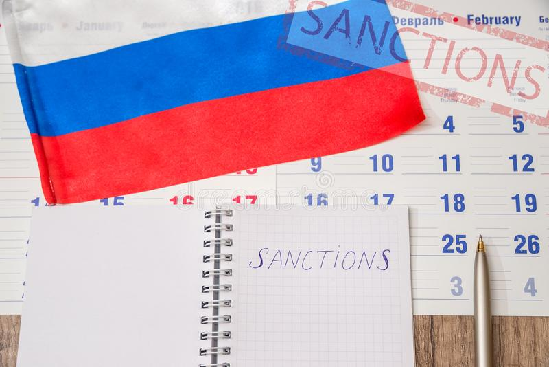 Russia sanctions close up royalty free stock photo