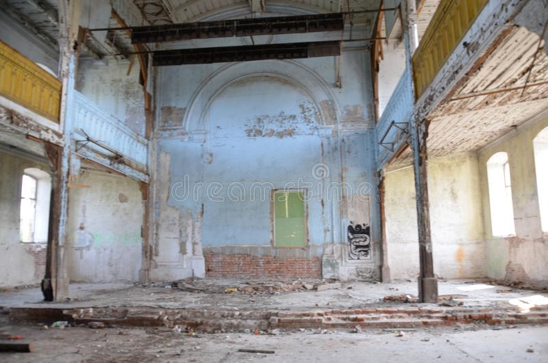 Russia Saratov March 16, 201: the destroyed ancient Church in the interior was built in 1900. Selective focus stock photos