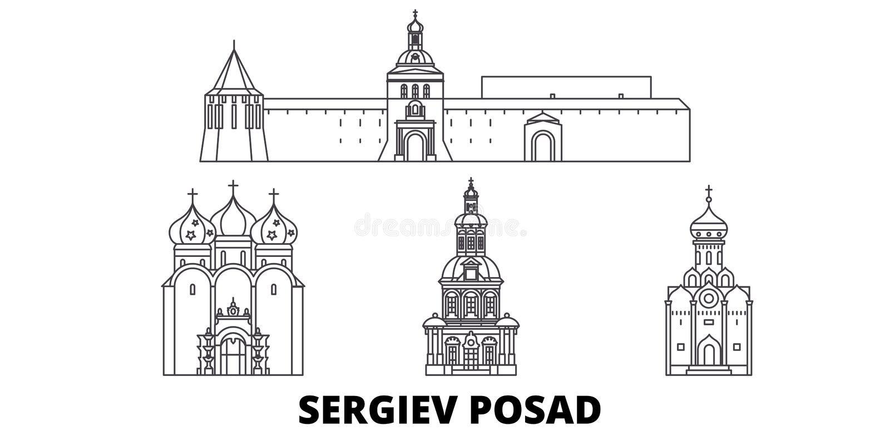 Russia, Sergiev Posad line travel skyline set. Russia, Sergiev Posad outline city vector illustration, symbol, travel royalty free illustration