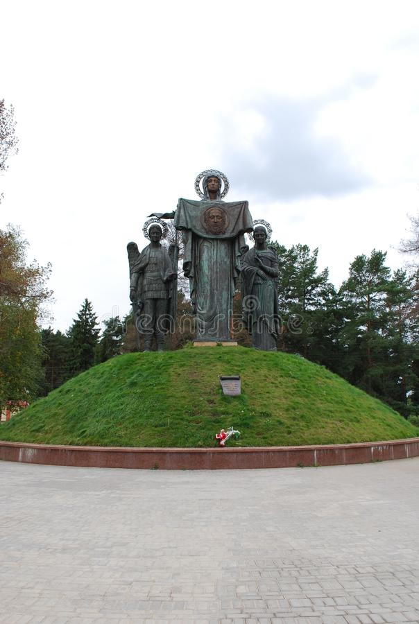 Memorial `Glory boundary. Blessed Mother of God Patroness of Sacred Russia`. Russia. Settlement of Lenino. August 27, 2009. Memorial `Glory boundary. Blessed royalty free stock image