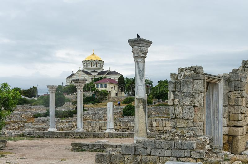 RUSSIA, SEVASTOPOL - The Saint Vladimir Cathedral on the site of Chersonesos Taurica. stock image