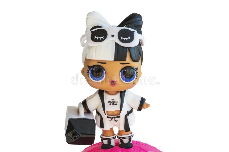Russia, Severodvinsk, 04.20.2019. Cute little L.O.L. Surprise doll with accessories. Her name is Snuggle babe. Isolate royalty free stock photo