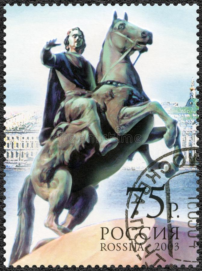 RUSSIA - 2003: shows The Bronze Horseman, 300th anniversary of S300th anniversary of St.Petersburg stock photo