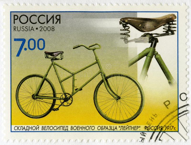 RUSSIA - 2008: shows Collapsible bicycle of the military sample of Leytner, 1917, series The monuments of science and technique, B. RUSSIA - CIRCA 2008: A stamp royalty free stock images