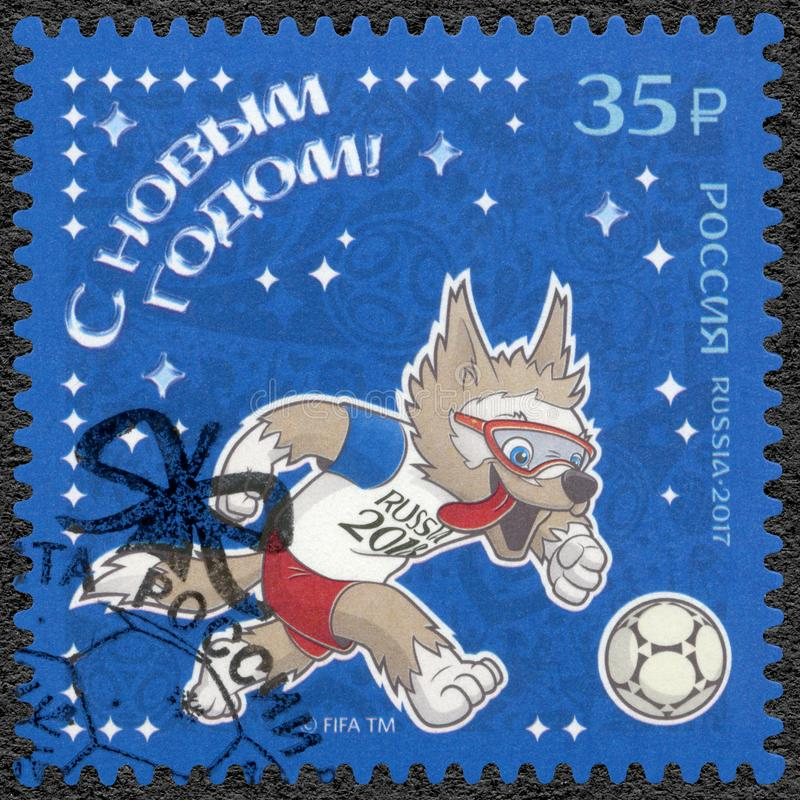 RUSSIA - 2017: shows Mascot Wolf, 2018 Football World Cup Russia, Happy New Year stock photography