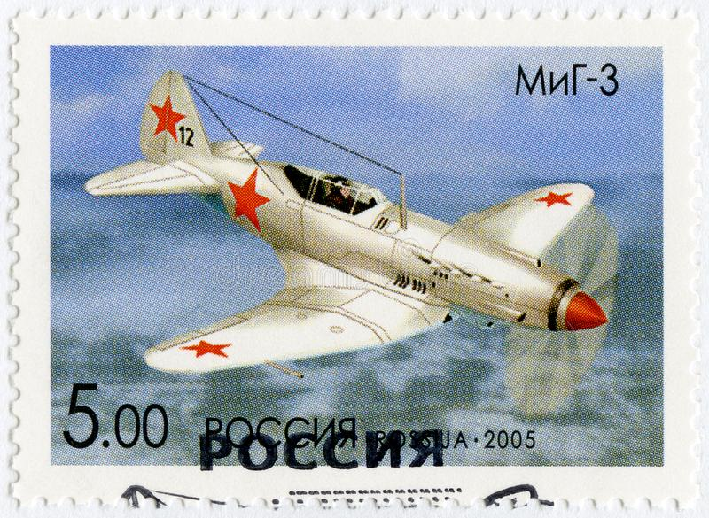 RUSSIA - 2005: shows The Mikoyan-Gurevich MiG-3, series OKB planes by A.I.Mikoyan, the aircraft designer stock photography