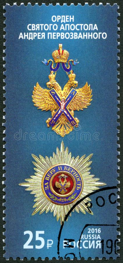 RUSSIA - 2016: shows The Order of St. Andrew the Apostle the First-Called, series State awards of the Russian Federation. RUSSIA - CIRCA 2016: A stamp printed in royalty free stock photos