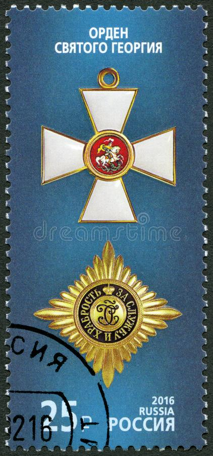 RUSSIA - 2016: shows Order of St George, series State awards of the Russian Federation. RUSSIA - CIRCA 2016: A stamp printed in Russia shows Order of St George royalty free stock images