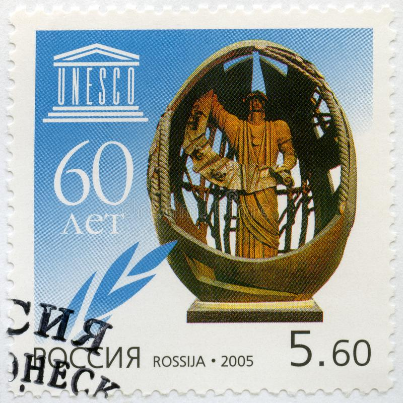 RUSSIA - 2005: shows The sculpture called The birth of a New Man by Z.Tsereteli, dedicated to the 60th anniversary of UNESCO royalty free stock images