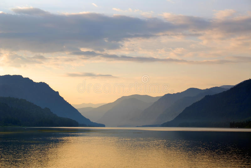 Russia. Siberia. Altai. Mirror of Teletskoye lake stock images