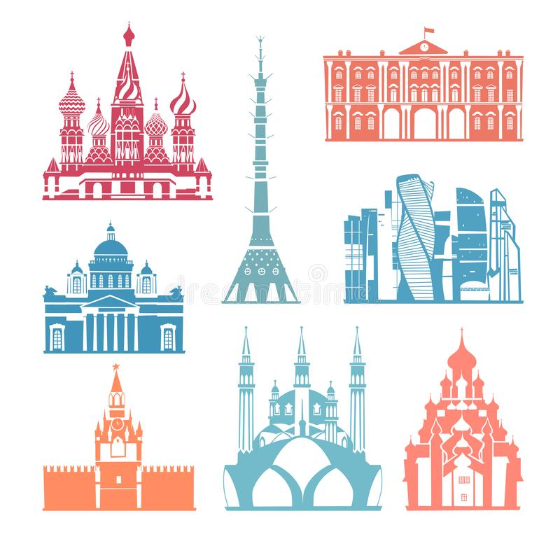 Russia skyline vector. Travel and tourism background. Vector illustration Russia skyline vector stock illustration