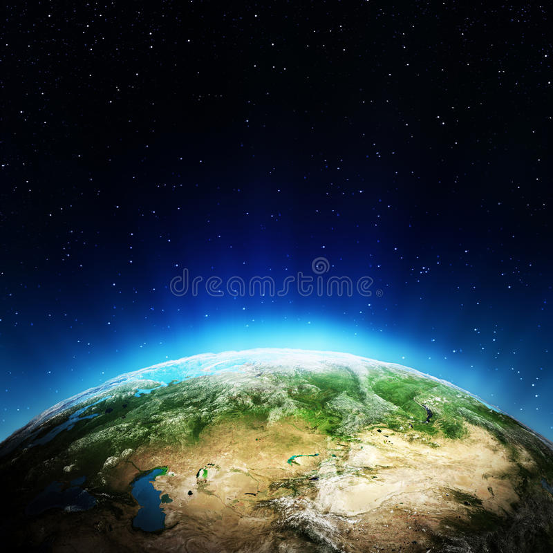 Russia from space stock illustration