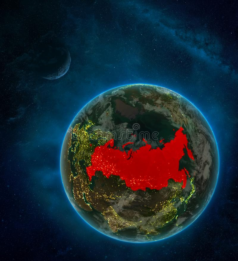 Russia from space on Earth at night surrounded by space with Moon and Milky Way. Detailed planet with city lights and clouds. 3D. Illustration. Elements of this vector illustration