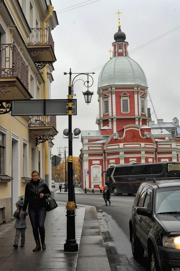 The Church of St. Panteleimon on the Pestel street. Russia, St. Petersburg, 11,10,2013 The Church of St. Panteleimon on the Pestel street royalty free stock image