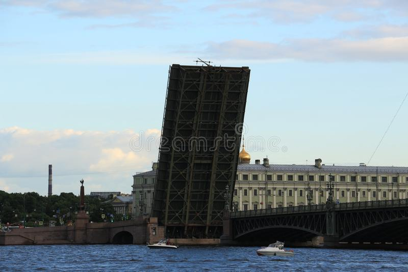 Russia, St. Petersburg, the divorced Trinity Bridge. Russia, St. Petersburg, a divorced afternoon Troitsky Bridge royalty free stock image